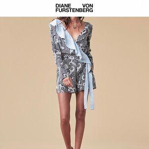 Diane Von Furstenberg Long Sleeve Ruffle Romper